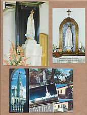 3 X vintage HOLY CARD / POSTCARD Virgin of FATIMA on Apparition Chapel + Prayers