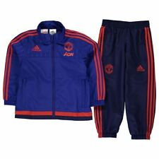 adidas Kids Manchester United FC Tracksuit Elastic Sports Training Top Bottoms