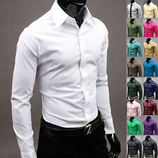 New Luxury Mens Long Sleeve Slim Fit Button Front Top Casual Dress Shirt Tops