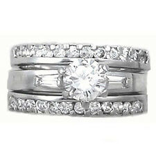 Sterling Silver 925 CZ Round 3 Piece Engagement Ring Wedding Band Set Size 5-9