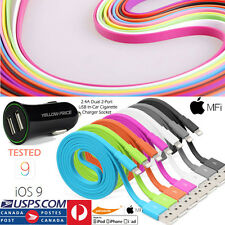 2.4A Car Charger&Certified Flat Lightning Data Cable iPad Pro iPhone iPod
