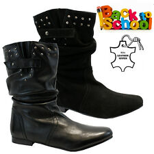 NEW GIRLS LADIES BLACK LEATHER SCHOOL BOOTS PIXIE SLOUCH BIKER WINTER SHOES SIZE