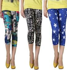 Stretchy Mix Printed Slim Fit Fashion Cropped Leggings Size S/XS