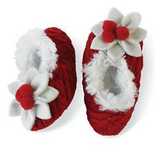 Mud Pie Baby POINSETTIA Mud Pie Baby SLIPPERS 131032 Christmas Eve Collection