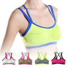 Women Yoga Fitness Tank Tops Seamless Bandage Padded Stretch Workout Sports Bras