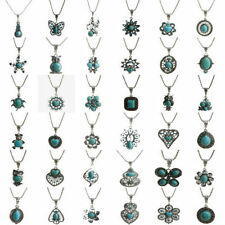 Turquoise Fashion Vintage Tibetan Silver Bib Crystal Pendant Chain Necklace
