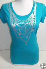 GUESS BLUE TEE TOP CREW NECK PRINTED GUESS LOGO cotton new nwt