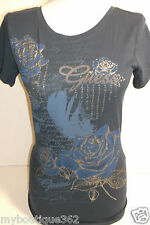 GUESS BLUE TEE TOP CREW NECK GUESS PRINT LOGO  cotton, blues NEW WITH TAG