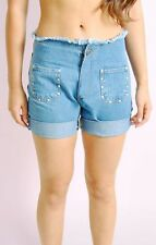 Ladies Womens Frayed Denim Shorts with Stud Detail Half Pant Jeans - 8/10/12/14