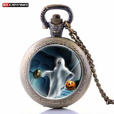 Retro Antique Ghost Lantern Pendant Quartz Pocket Necklace Gift Watch Steampunk