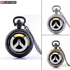 Video Game Overwatch Theme Retro Pocket Watch Quartz Pendant Necklace Chain Gift