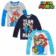 OFFICIAL Nintendo Super Mario Bros Boys Long Sleeve  Top T-Shirt 3-10 years NEW