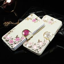 New Luxury Leather Diamond Flower Flip Card Wallet Cover Case For Samsung/iPhone
