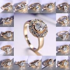 Charm 18K CZ Gold Tone Crystal Women Wedding Engagement Jewelry Sapphire #8 Ring