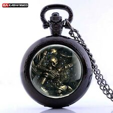 Antique Steampunk Robot Skull Skeleton Locket Pocket Watch Pendant Necklace
