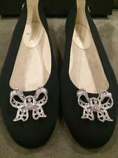 CHANEL 16P Grosgrain Fabric Crystal Jewel Bow Ballerina Ballet Flat Shoes $925