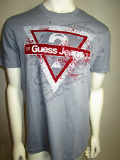 GUESS mens gray crew neck t shirt with guess front logo new nwt