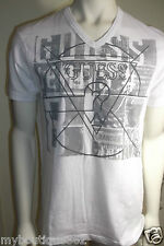 GUESS MENS WHITE CREW NECK GRAPHIC T SHIRT WITH FRONT LOGO NEW WITH TAG  LQQK