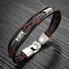 Men's Braided Genuine Leather Wristband Cuff Bangle Bracelet Handmade Jewelry