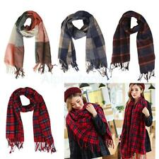 Women Winter Warm Soft Scarf Cashmere Plaid Long Scarf Neck Wrap Shawl Pashmina