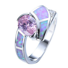Pear Cut Pink Sapphire & Fire Opal Wedding Ring 10KT White Gold Filled Size 6-9