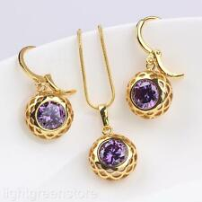 Shiny Womens 24K Yellow Gold Filled Round Crystal Pendant Necklace Earrings Set