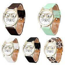 Casual Cute Analog Quartz Faux Leather Cat Women Girl Fashion Wrist Watch Gift