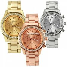 New Fashion Bling Crystal Women Girl Unisex Stainless Steel Quartz Wrist Watch W