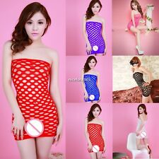 Sexy Women Off Shoulder Fishnet Hollow Lingerie Dress Babydoll Nightwear N4U8