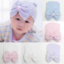 Cute Newborn Baby Infant Girl Toddler Comfy Bowknot Hospital Cap Beanie Hat TXCL