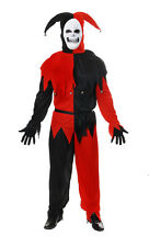 Evil Jester Black & Red Halloween Mens Fancy Dress Costume Outfit Size M-L P8746