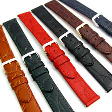 Genuine Flat Calf Leather Watch Band Crocodile Croc Grain 16mm 18mm 20mm