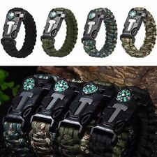 Rope Paracord Survival Bracelet Flint Fire Starter Compass Whistle Outdoor TXCL