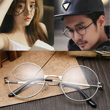 Unisex Metal Frame Clear Round Lens Glasses Classic Retro Spectacles Eyeglass