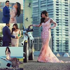 Blush Pink Applique Mermaid Bridal Ball Gown Long Sleeve Lace Wedding Dress New