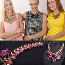 Statement Flower Necklace Crystal Choker Chunky Chain Bib Collar Pendant KJ