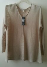 EILEEN FISHER  Natural V- Neck Top, Organic Linen Size M Retail $168 NWT