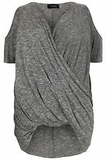 Yoursclothing Plus Size Womens Marl Wrap Front Top With Cold Shoulder