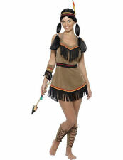 Ladies Red Indian Woman Squaw Native American Wild Fancy Dress Costume