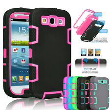 Hybrid Rubber ShockProof Hard Matte Case Cover For Samsung Galaxy S3 S III i9300