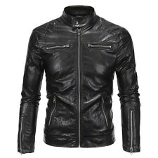 Men's Leather Jacket Slim fit Biker Motorcycle jacket black Punk Biker zip coats