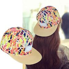Womens Mens Floral Snapback Hip-Hop Hat Flat Peaked Adjustable Baseball Cap J