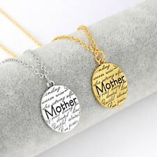 Engraved Silver Gold Lettering Mom Stamped Necklace Pendent Mother's Day Gift