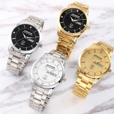 Mens Stainless Steel Quartz Watch Crystal Deocr 4 Colors Date Day Wristwatches