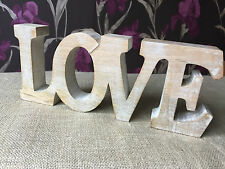 Wooden Whitewashed LOVE in Block Letters Ideal Gift for Wedding, Friends, Lover