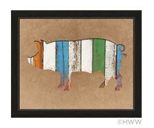 Click Wall Art Colored Wood Textured Pig Framed Painting Print