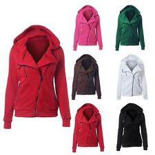 Casual Women Slim Zip Up Top Hoodie Hooded Sweatshirt Coat Jacket Sweater Jumper