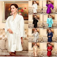 Womens Silk Satin Pajamas Pyjamas Sleepwear Bathrobe Nightdress Nightgowns Robe