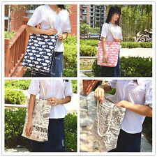Cotton Linen ECO Shopping Tote Shoulder Bag Print Whale Newspaper Stripe 808-6 S