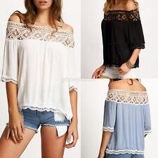 Fashion Women Sexy Off Shoulder Casual Short Sleeve Lace Slim T-Shirt Top Blouse